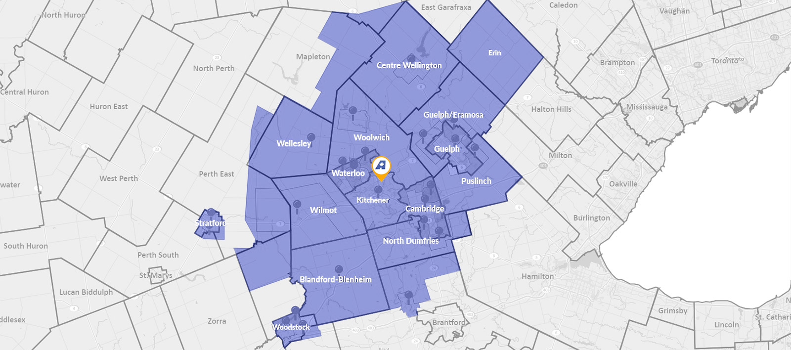 Service area map - Aire One Heating and Cooling Kitchener-Waterloo